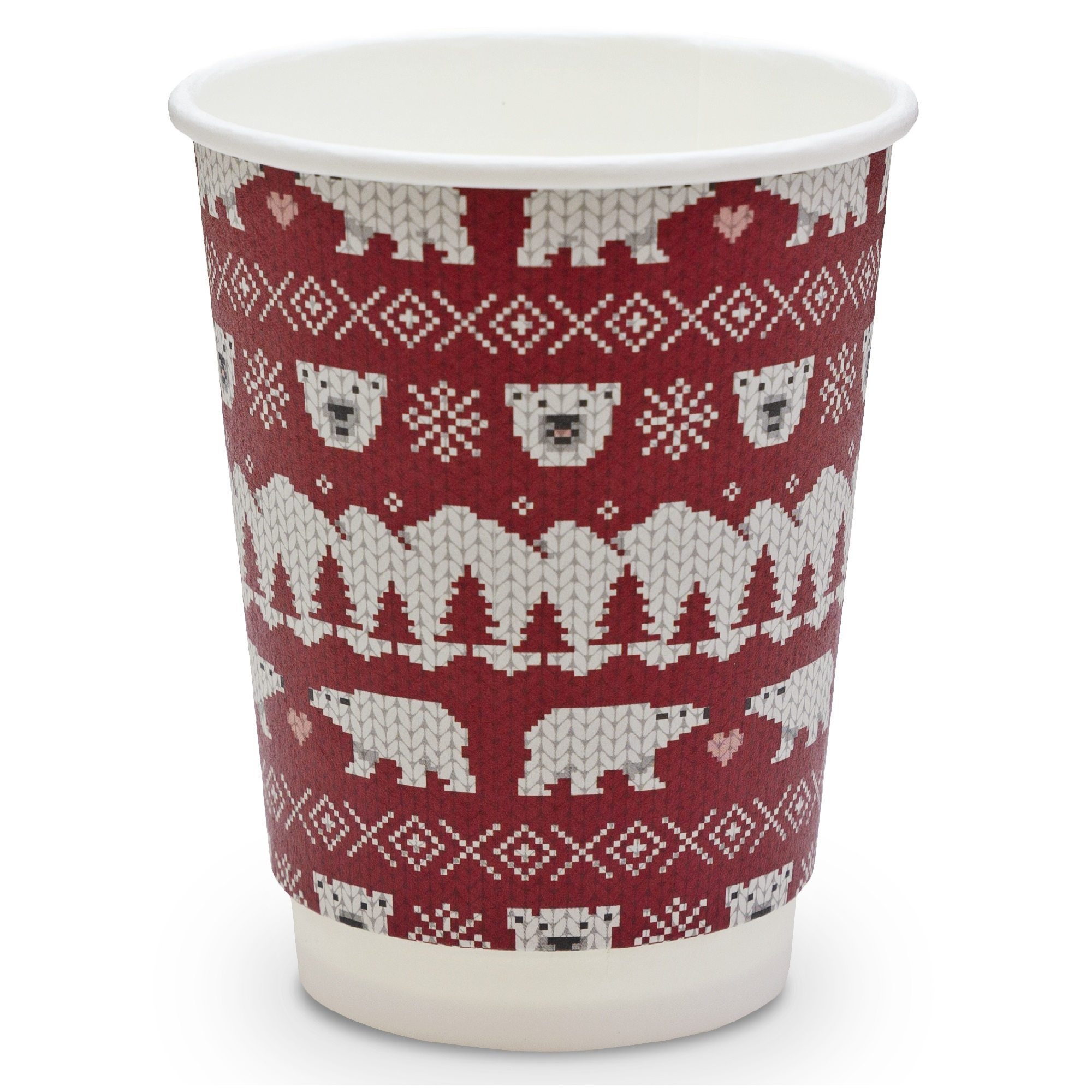 12oz Polar Bear Biodegradable Paper Cups & Lids | For Hot Drinks