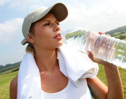 Drinking water during excercise